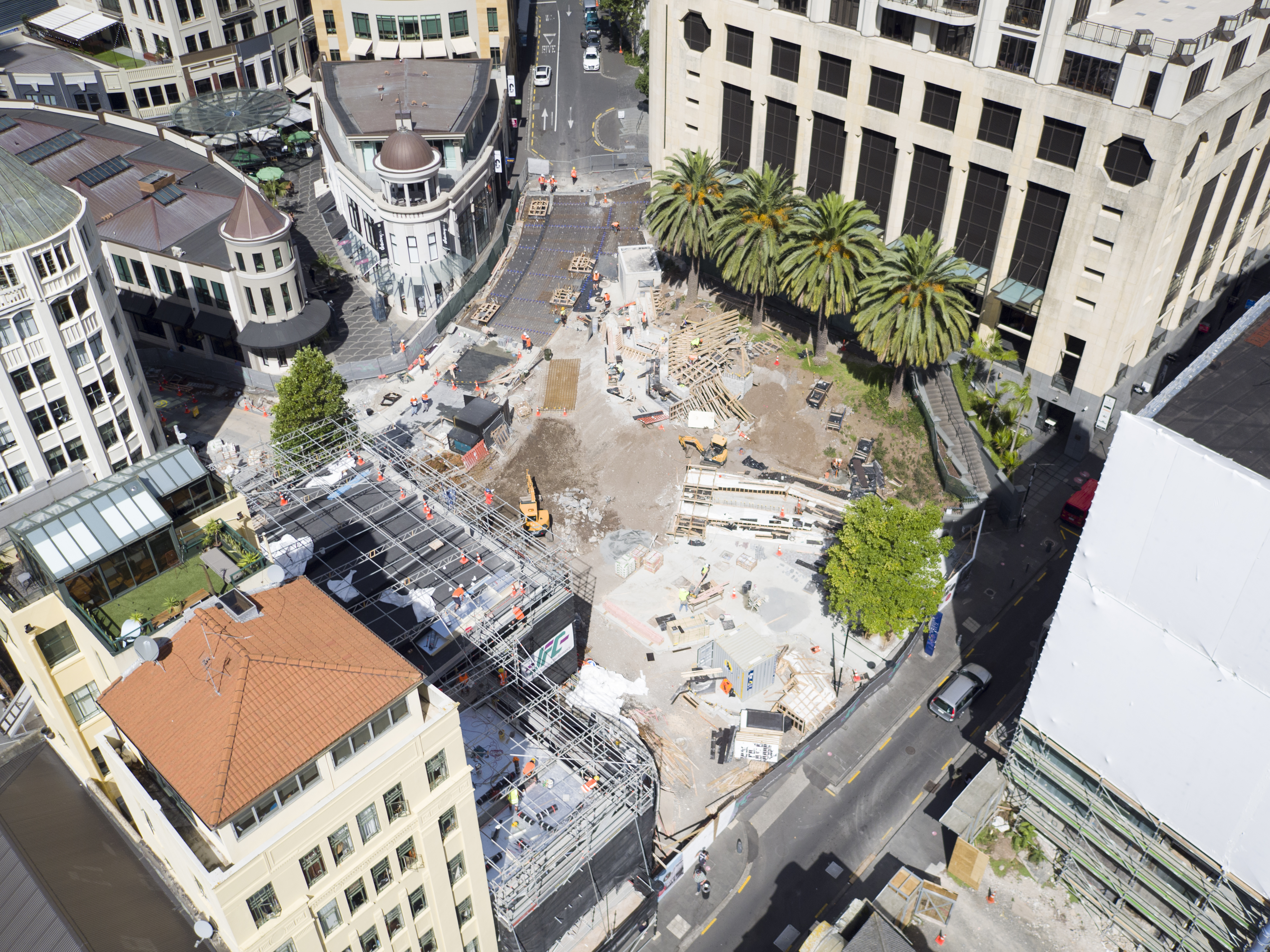 Aerial view of Ellen Melville Centre and Freyberg place construction zone in 2017