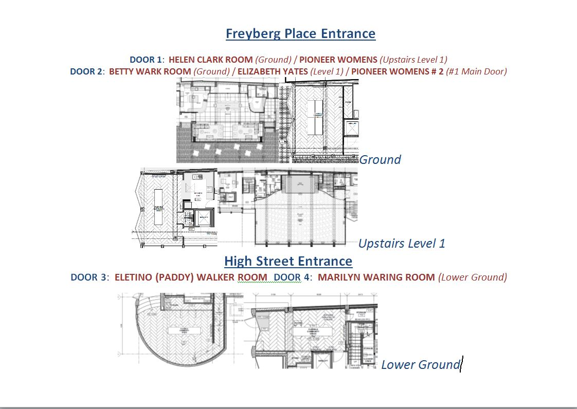 Freyberg Place and High Street entrance information repeated as an image