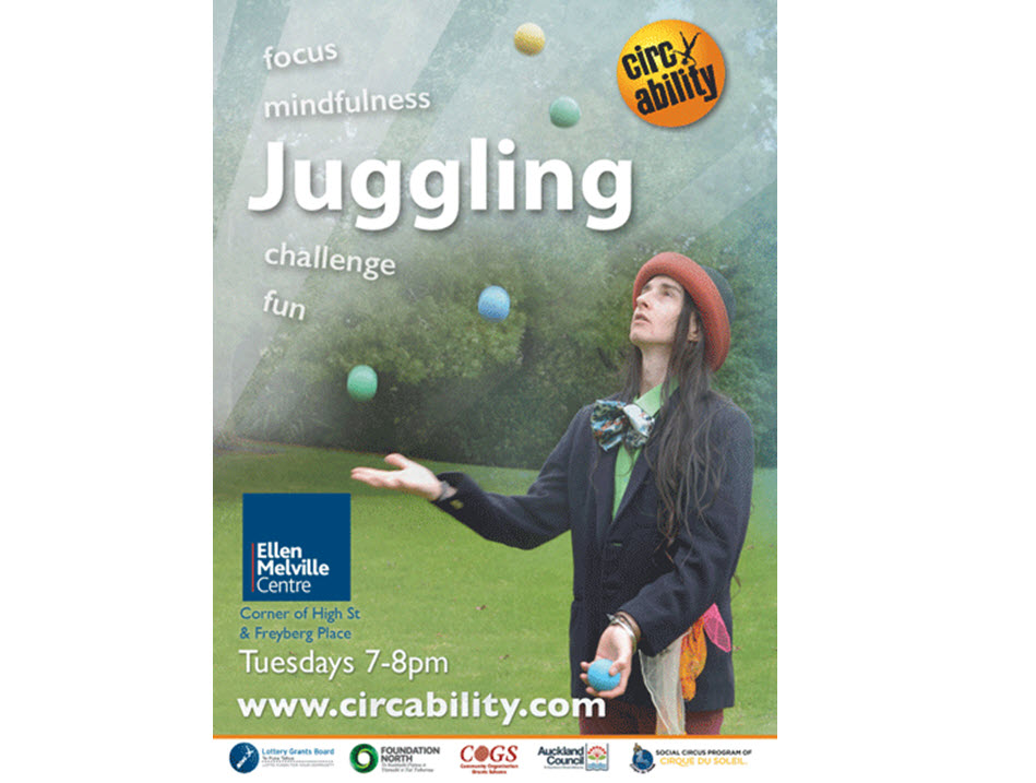 Juggling with Circability at Ellen Melville Centre Tuesdays 7-8 pm