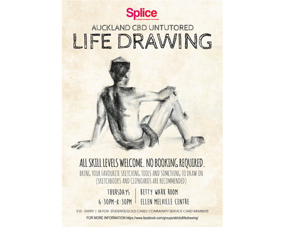 Life drawing with Splice at Ellen Melville Centre Thursdays 6:30 pm - 8:30 pm