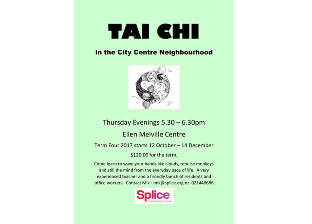 Tai Chi with Splice at Ellen Melville Centre Thursdays 5:30 - 6:30 pm